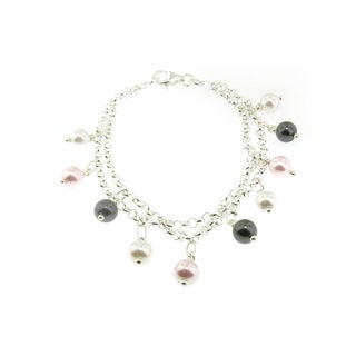 Sterling Silver Double Row Link Chain with Shell Pearl Charms Bracelet (Italy)