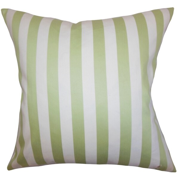 Baez Stripes Green Down Filled Throw Pillow