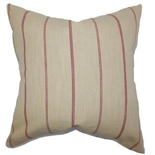 Fairfax Stripes Neutral Red Down Filled Throw Pillow