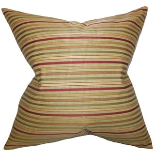 Damika Stripes Brown Down Filled Throw Pillow