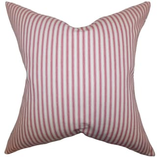 Ferebee Stripes Red Down Filled Throw Pillow