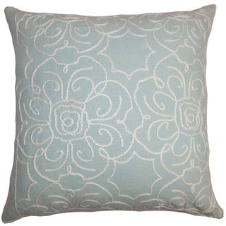 Pam Floral Aqua Blue Down Filled Throw Pillow