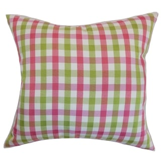 Manteo Plaid Flamingo Down Filled Throw Pillow