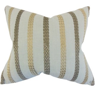 Emese Stripe Sea Glass Down Filled Throw Pillow