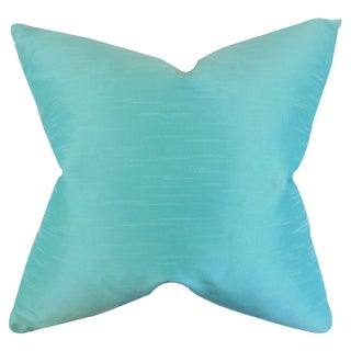 Acker Solid Aquamarine Down Filled Throw Pillow