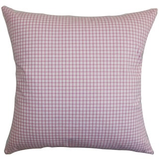 Xandy Plaid Pink Down Filled Throw Pillow