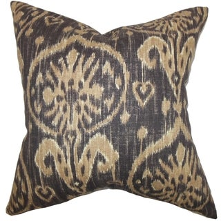 Yetta Ikat Brown Down Filled Throw Pillow