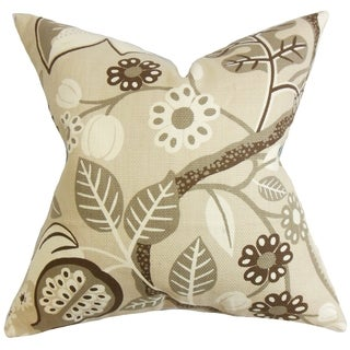 Prys Floral Brown Down Filled Throw Pillow