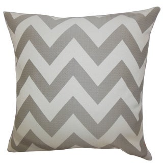 Diahann Chevron Gray Down Filled Throw Pillow