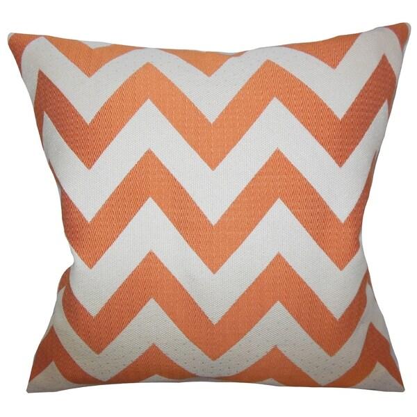 Diahann Chevron Orange Down Filled Throw Pillow