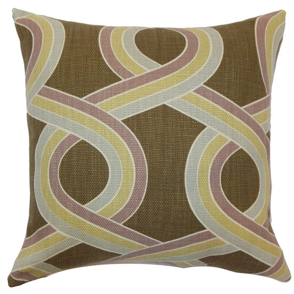 Malva Knots Hazelnut Down Filled Throw Pillow