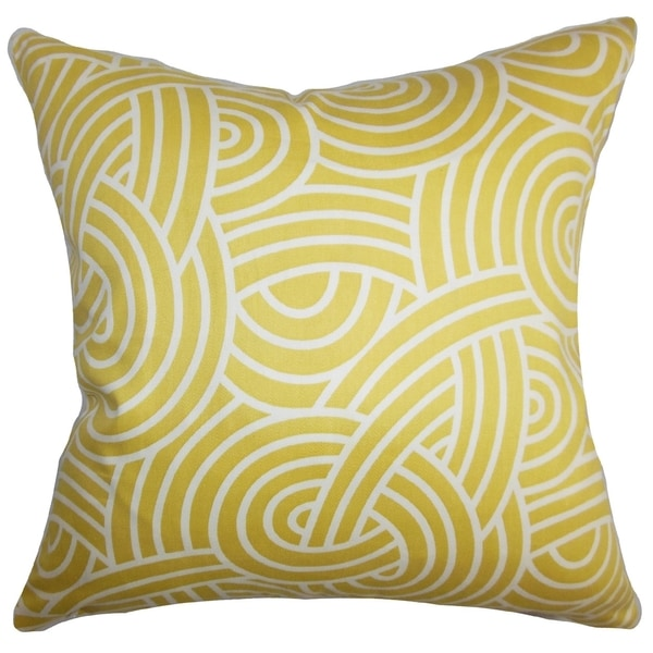 Wei Geometric Yellow White Down Filled Throw Pillow