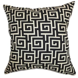 Warder Greek Key Black Creme Down Filled Throw Pillow