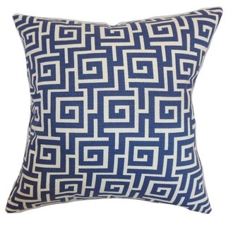 Warder Greek Key Blueberry Down Filled Throw Pillow