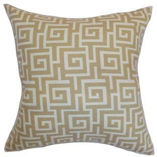 Warder Greek Key Rattan Down Filled Throw Pillow