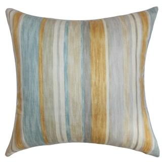 Narkeasha Stripes Natural Aqua Feather and Down Filled Throw Pillow