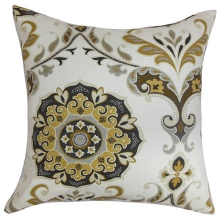 Orana Floral Brown Gray Feather and Down Filled Throw Pillow