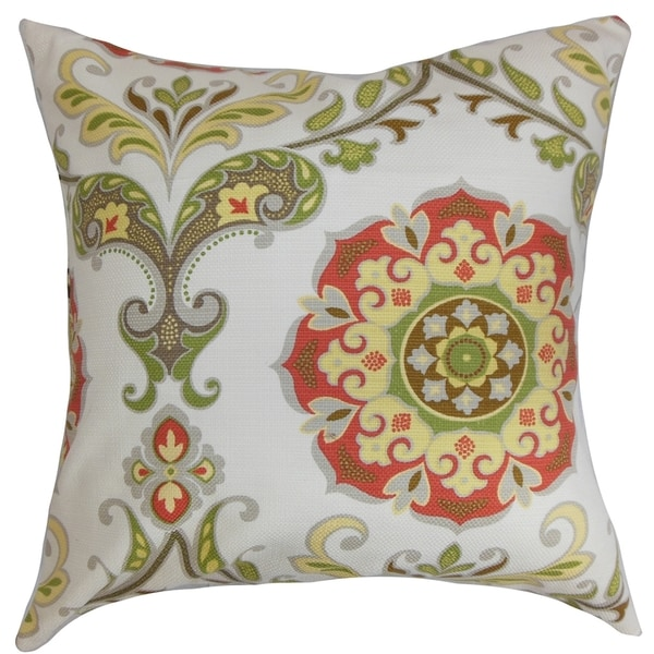 Orana Floral Rose Green Feather and Down Filled Throw Pillow