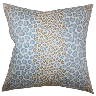Mailys Animal Print Blue Brown Feather and Down Filled Throw Pillow