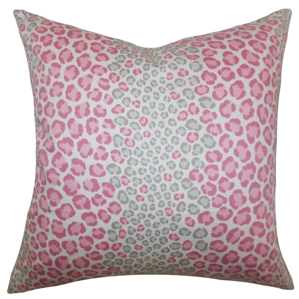 Mailys Animal Print Pink Feather and Down Filled Throw Pillow
