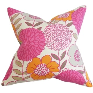 Veruca Floral Pink Feather and Down Filled Throw Pillow