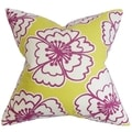 Winslet Floral Yellow Feather and Down Filled Throw Pillow