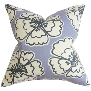 Winslet Floral Purple Feather and Down Filled Throw Pillow