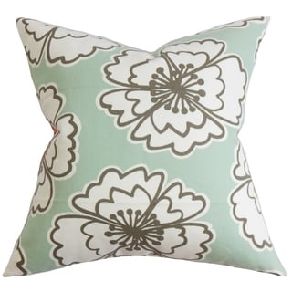 Winslet Floral Blue Feather and Down Filled Throw Pillow