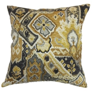 Adarna Floral Gold Onyx Feather and Down Filled Throw Pillow