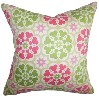 Eavan Floral Green Pink Feather and Down Filled Throw Pillow