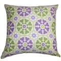 Eavan Floral Purple Green Feather and Down Filled 18-inch Throw Pillow