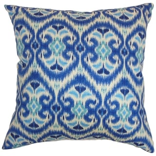 Zhambyl Ikat Ocean Feather and Down Filled Throw Pillow