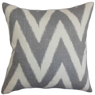 Bakana Zigzag Grey Feather and Down Filled Throw Pillow