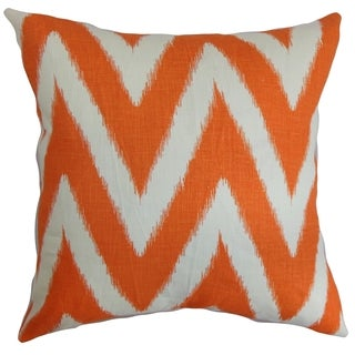 Bakana Zigzag Orange Feather and Down Filled Throw Pillow
