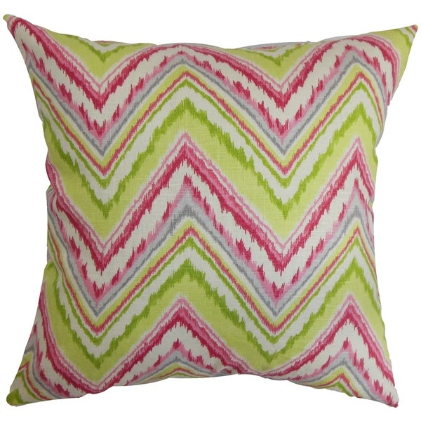 Dayana Zigzag Pink Green Feather and Down Filled Throw Pillow