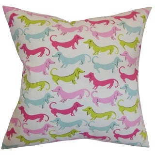 Ione Animal Print Bubblegum Feather and Down Filled Throw Pillow