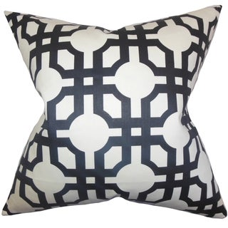 Aebba Tile Black Feather and Down Filled Throw Pillow