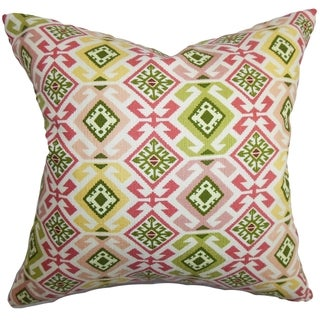 Ealhhun Moorish Tile Pink Green Feather and Down Filled Throw Pillow