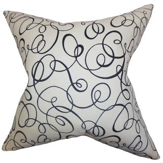Nuru Spiral Black White Feather and Down Filled Throw Pillow