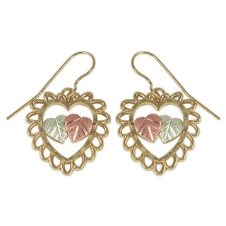 Black Hills Gold Scalloped Heart Earrings