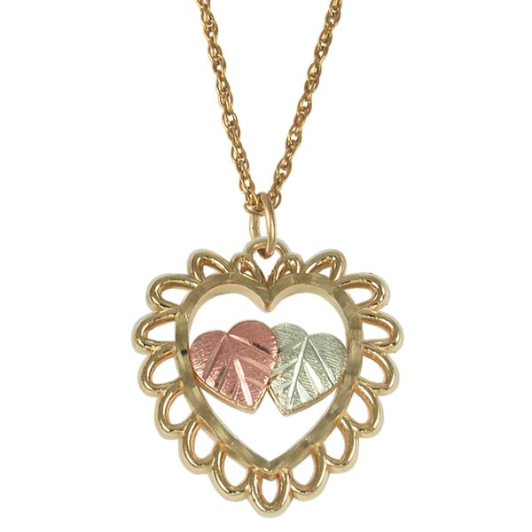 Black Hills Gold Scalloped Heart Necklace