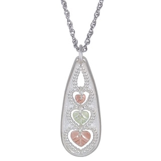 Black Hills Gold and Silver 3-heart Necklace