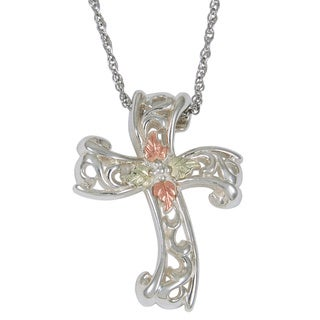 Black Hills Gold over Silver Filligree Cross Necklace