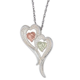Black Hills Gold and Silver Double Heart Necklace