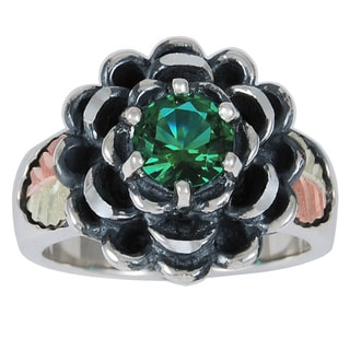 Black Hills Gold and Silver Emerald Obsidianite Ring
