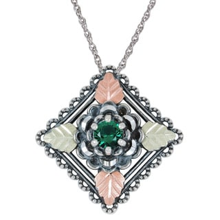 Black Hills Gold and Silver Emerald Obsidianite Necklace