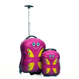 Trendykid Travel Buddies 'Bella Butterfly' 2-piece Hardside Carry On Kids Luggage Set