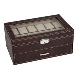 Seya Collection Brown Leatherette 24-watch Storage Box Display Case