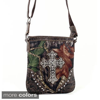 Mossy Oak Rhinestone Cross Studded Camouflage Messenger Bag