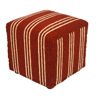 South Beach Red Striped Indoor/ Outdoor Ottoman